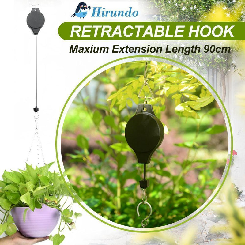 Hirundo Retractable Hook For Garden Baskets Pots, Birds Feeder