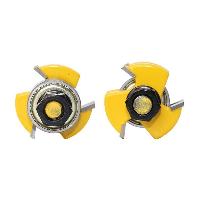 3-Teeth T-type Tenon Knife Cutter 2PCS - Yellow 1/4