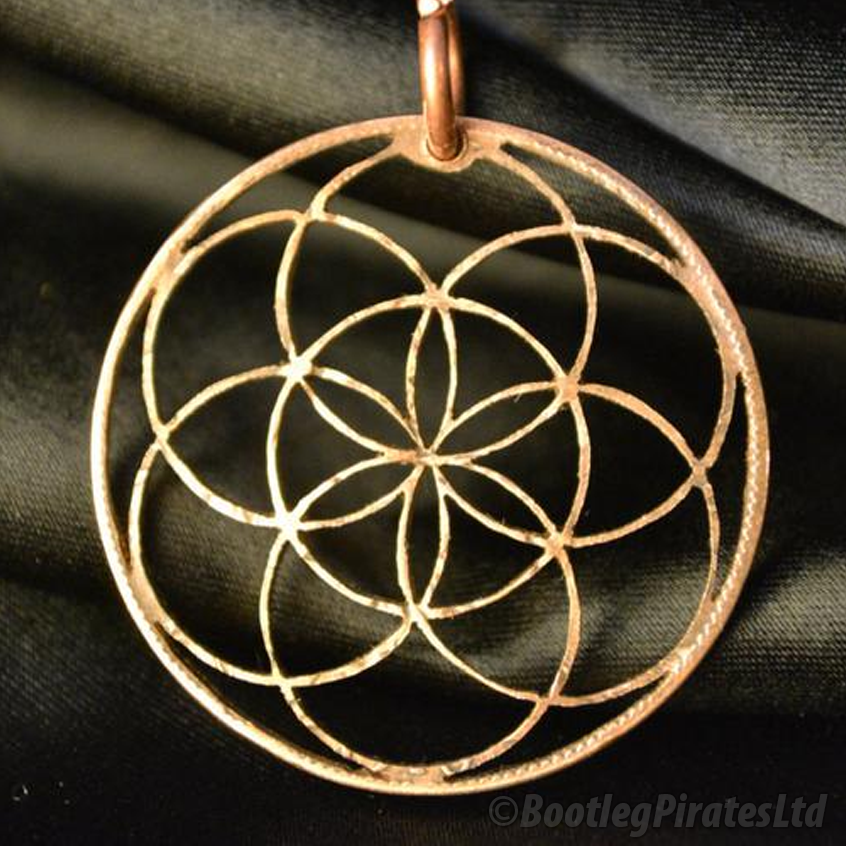 Seed of Life, Hand Cut Coin Pendant