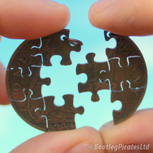 Load image into Gallery viewer, Puzzle Hand Cut Coin: Two Part Friendship Pendant.
