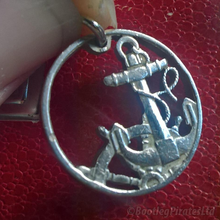 Load image into Gallery viewer, Spanish 50 Centimos, Hand Cut Coin Anchor Pendant