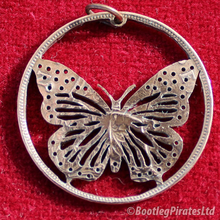 Load image into Gallery viewer, Butterfly Hand Cut Coin Pendant.