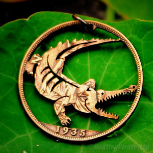 Crocodile Hand Cut Coin Pendant.