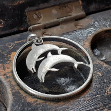 Load image into Gallery viewer, Icelandic Five Kroner Hand Cut Coin Dolphin Pendant