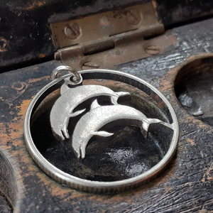 Icelandic Five Kroner Hand Cut Coin Dolphin Pendant