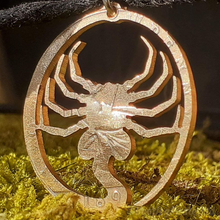 Load image into Gallery viewer, Aliens Face Hugger, Hand Cut Coin Pendant.