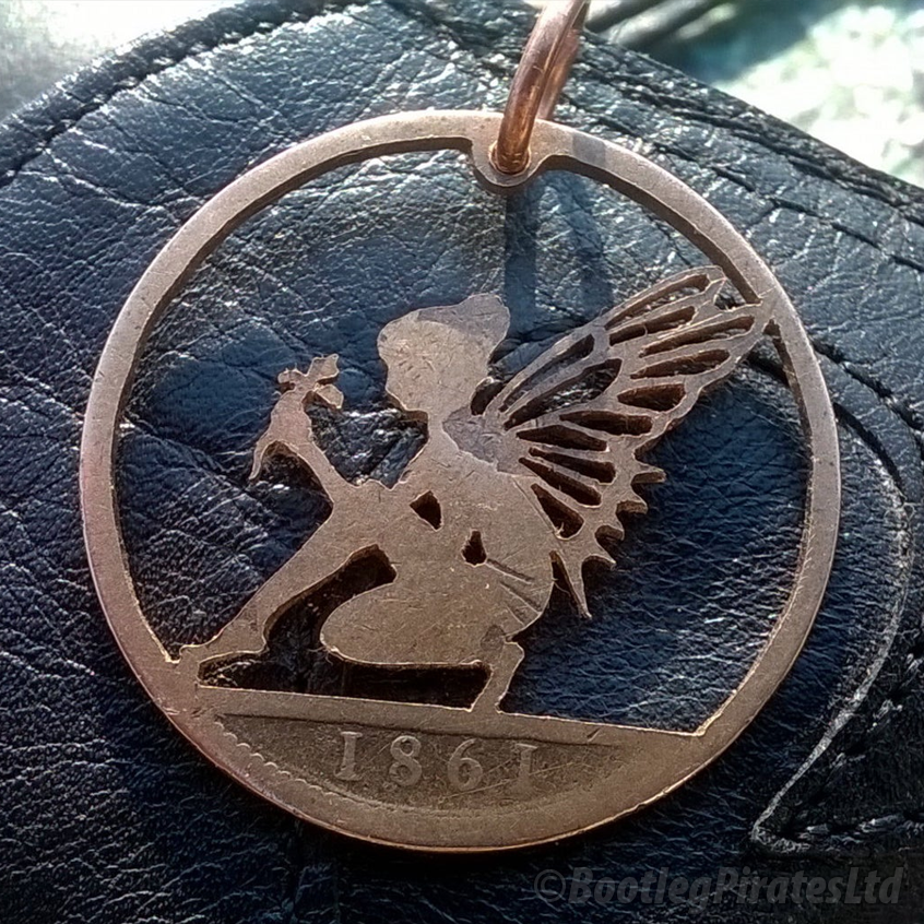 Flower Fairy Hand Cut Coin Pendant