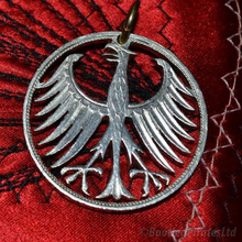 Load image into Gallery viewer, Silver German five Mark, German Federal Republic Eagle, Hand Cut Coin Pendant.