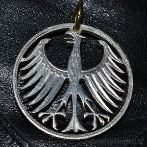 Silver German five Mark, German Federal Republic Eagle, Hand Cut Coin Pendant.