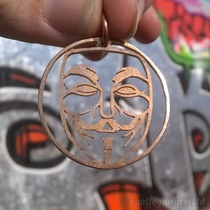 Anonymous - V For Vendetta - Guy Fawkes, Hand Cut Coin Pendant.