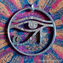 Load image into Gallery viewer, Eye of Horus Hand Cut Coin pendant.