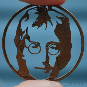 John Lennon - The Beatles - Hand Cut Coin Pendant.