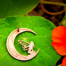 Load image into Gallery viewer, Fairy moon, Hand Cut Coin Pendant.
