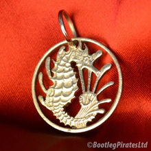 Load image into Gallery viewer, Seahorse Hand Cut Coin Pendant.