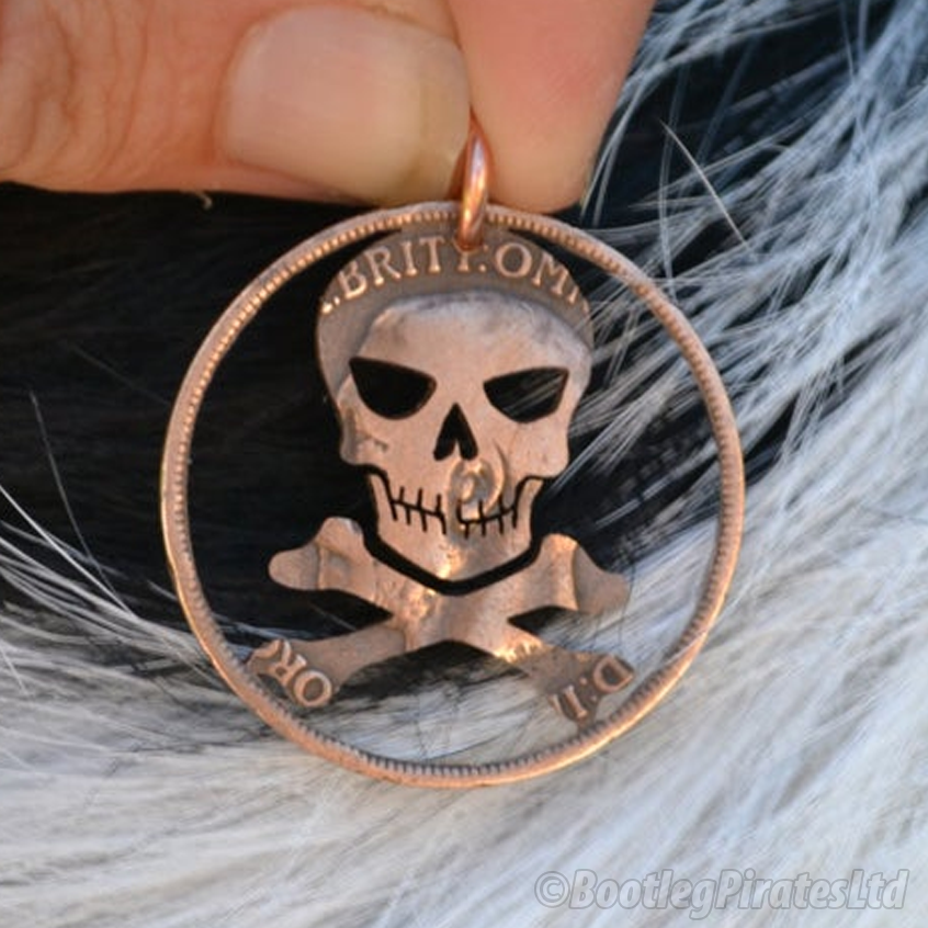 Skull and Cross Bones Hand Cut Coin Pendant