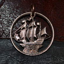 Load image into Gallery viewer, The Golden Hind, Hand Cut Coin Pendant.