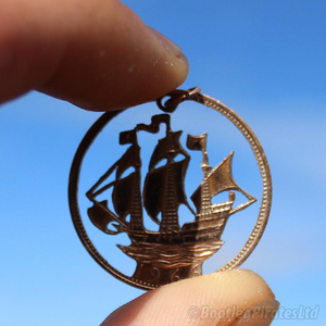 The Golden Hind, Hand Cut Coin Pendant.