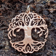 Load image into Gallery viewer, Tree of Life, Curly Leafy Version, hand cut coin pendant.