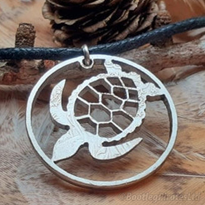 Turtle Hand Cut Coin Pendant