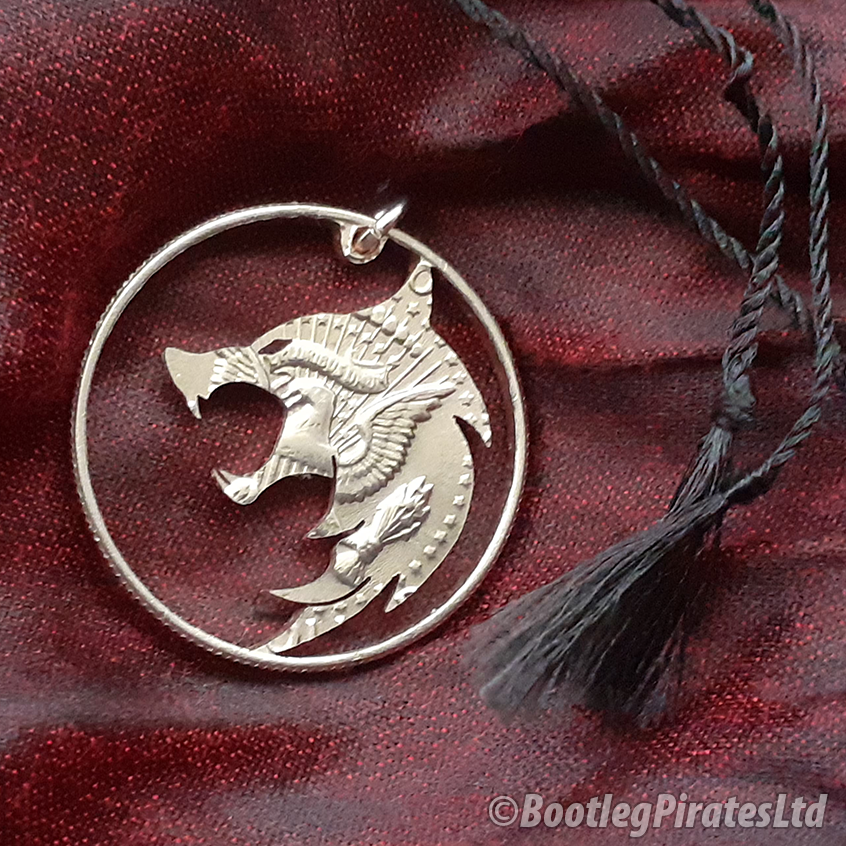 Witcher, Hand Cut Coin Pendant.