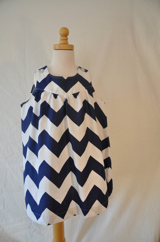 Ellie dress - Navy Chevron