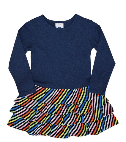 Toobydoo Girls Ruffle Dress Navy available at The Groovy Gator in Newport, RI
