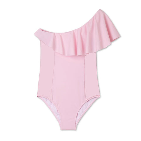 Stella Cove Girls Swimsuit One Piece pink flared off shoulder
