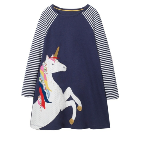 Cotton Unicorn Striped Dress available at The Groovy Gator, Newport RI
