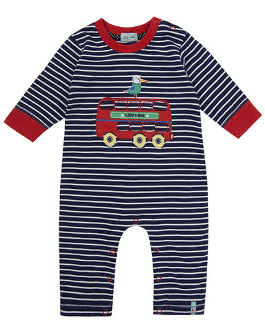 Lilly And Sid Baby Boy Big Red Bus Jumpsuit Lilly + Sid