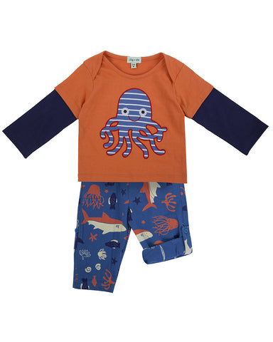 Lilly And Sid Baby Boy Octopus Friends Pant Set Lilly + Sid