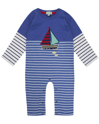 Lilly And Sid Baby Boy Striped Sailboat Jumpsuit Lilly + Sid