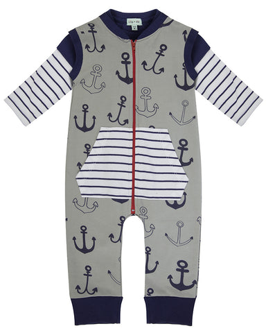 Lilly And Sid Baby Boy Anchor Sweat PlaysuitLilly + Sid