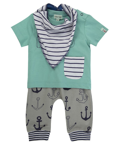 Lilly And Sid Baby Boy Anchor Playsuit 3 piece set Lilly + Sid