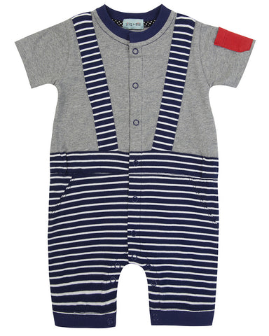 Lilly And Sid Baby Boy Smartie Pants Striped Romper set Lilly + Sid