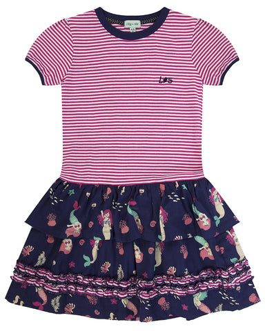 Lilly + Sid Girls Woven Mix Dress at The Groovy Gator