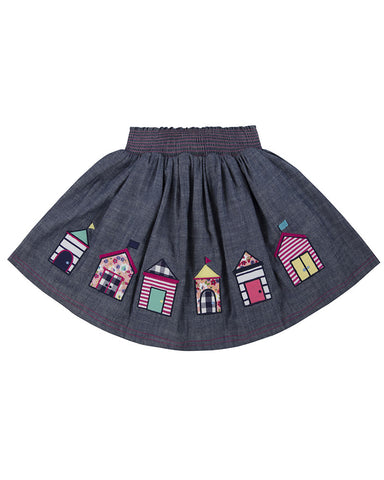 Lilly + Sid Girls Chambray Applique Skirt at The Groovy Gator