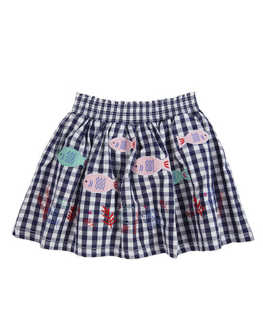Lilly + Sid Girls Gingham Fish Applique Skirt at The Groovy Gator