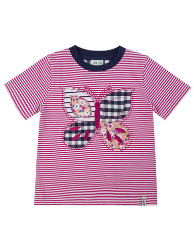 Lilly + Sid Girls Cotton Butterfly Applique Shirt at The Groovy Gator
