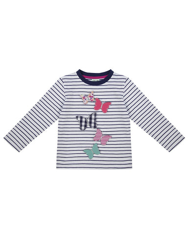 Lilly + Sid Girls Long Sleeve Butterfly Applique shirt at The Groovy Gator