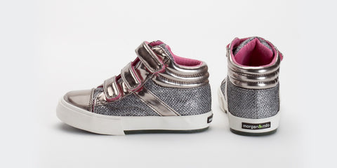 Morgan and Milo Silver Hightop Girls Sneaker