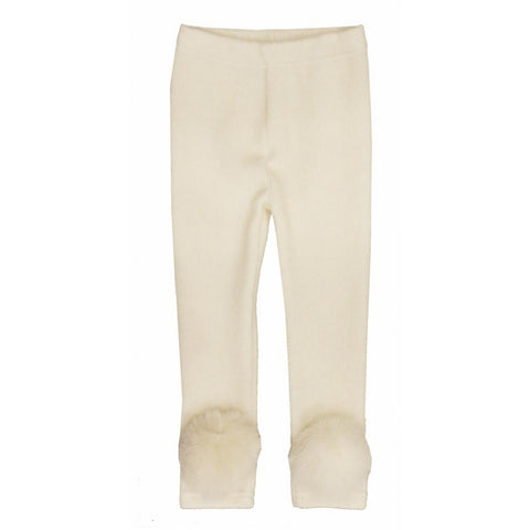 Ivory Fox Pom Pom Leggings