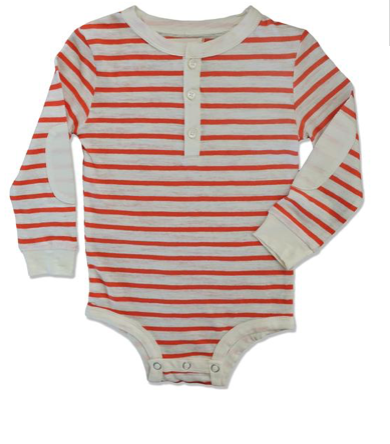 Me & Henry Orange Striped Henley Onesie available at The Groovy Gator Newport, RI