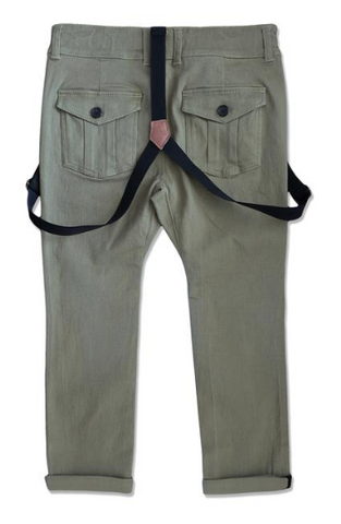 Me & Henry Green Woven Pants With Suspenders