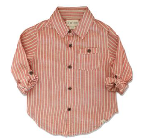 Me & Henry Orange Woven Striped Shirt