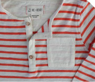 Me & Henry Orange Striped Henley