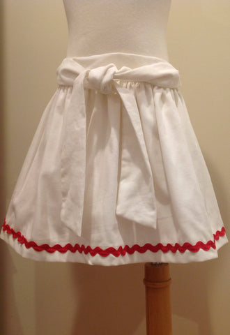 Caroline Skirt - White Cord Red Ric Rac