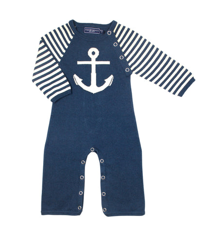 Haddock Stripe - Navy Blue / White Anchor