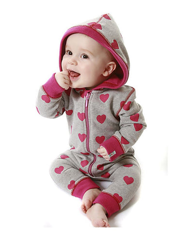 Lilly And Sid Baby Girls Hearts Full Zip Hooded Sweat Suit Lilly + Sid