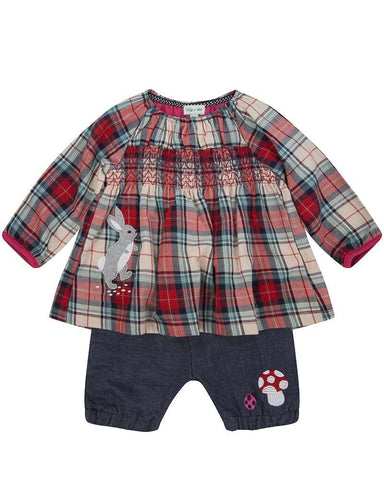 Lilly + Sid Baby Girl woven check bloomer set in Newport RI