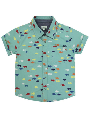 Lilly + Sid Boys Short Sleeved Woven Shirt at The Groovy Gator